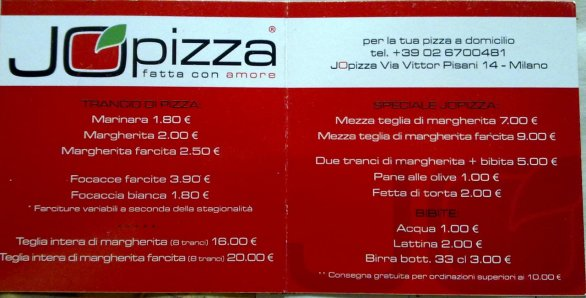 menu jopizza