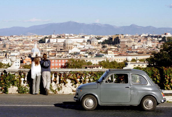 A Fiat 500 is driven on the Gianicolo hi