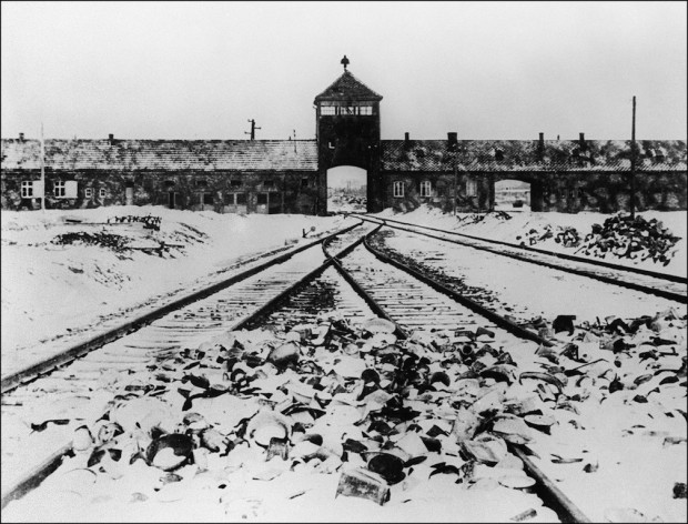 A picture taken in January 1945 depicts Auschwitz