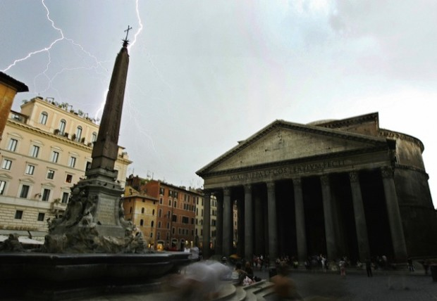 The Pantheon is seen during a storm with