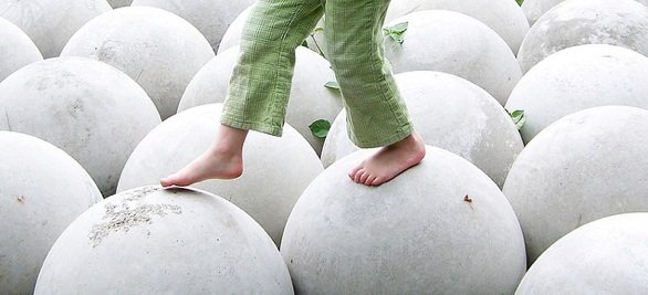 Free Child Walking on White Round Spheres Balance Creative Commons_Pink Sherbet Photography