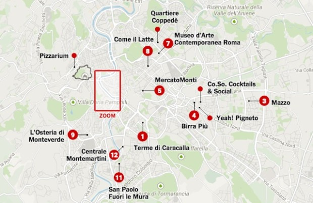 Roma in 36 ore - mappa New York Times