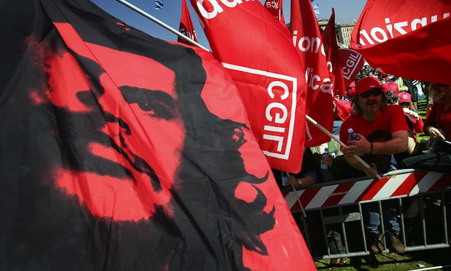 Members of the left wing union CGIL (Gen