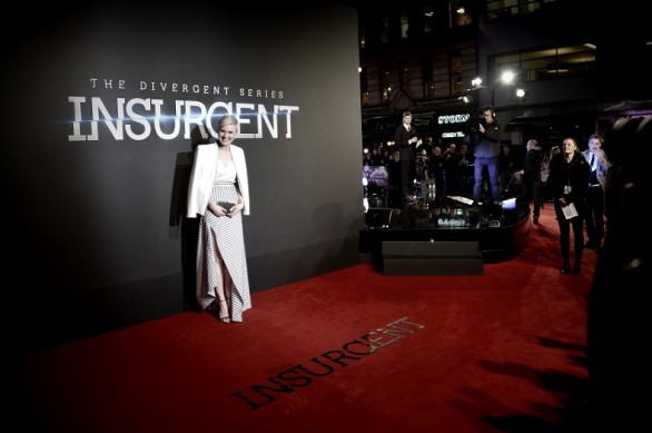 """attends the World Premiere of """"Insurgent"""" at Odeon Leicester Square on March 11, 2015 in London, England."""