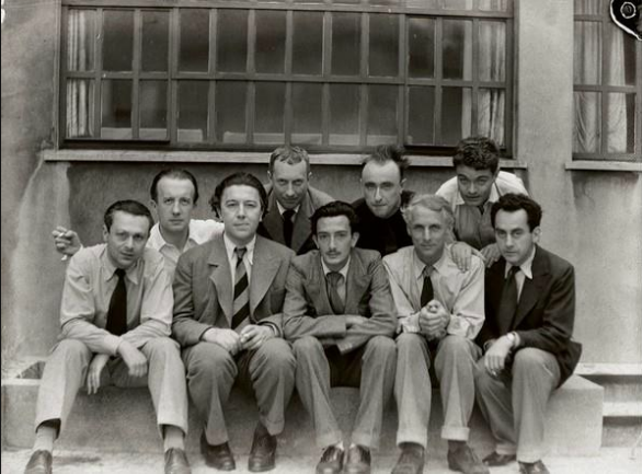 Man Ray, Jean Arp, Yves Tanguy and André Breton. Front row: Tristan Tzara, Salvador Dalí, Paul Éluard, Max Ernst and Rene Crevel. Photo Man Ray, 1930