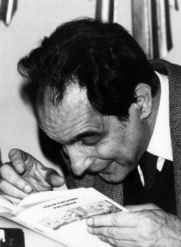 Italo Calvino con 'Mr Palomar', 1984 -nd [publ. in Panorama, 7 Jan. 1984]from panorama /photo Mondadori portfolio