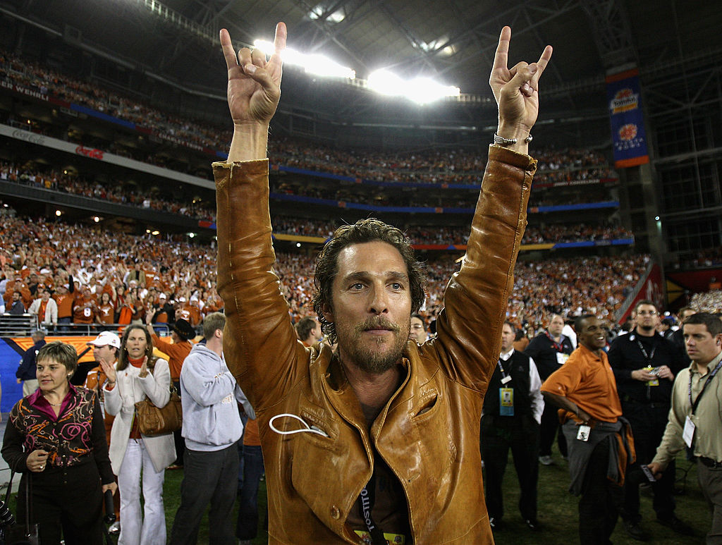 GLENDALE, AZ - JANUARY 05: Actor Matthew McConaughey celebrates after the Texas Longhorns defeated the Ohio State Buckeyes in Tostitos Fiesta Bowl Game on January 5, 2009 at University of Phoenix Stadium in Glendale, Arizona. (Photo by Jed Jacobsohn/Getty Images)