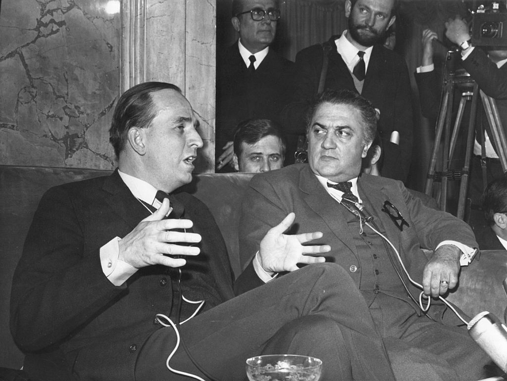 Italian film director Federico Fellini (1920 - 1993) at a press conference in the Grand Hotel of Rome.    (Photo by Hulton Archive/Getty Images)