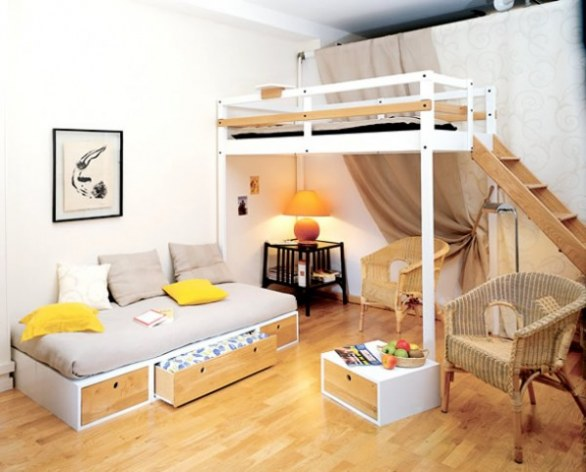 Camerette per ragazzi e bambini for Small apartment bedroom storage ideas