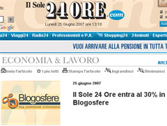 il Sole 24 Ore entra al 30% in Blogosfere
