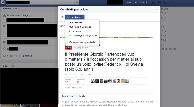 Facebook condividere post link