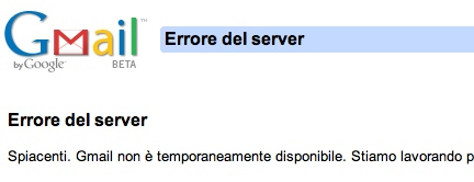 Gmail errore del server
