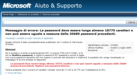 Errore: password troppo corta