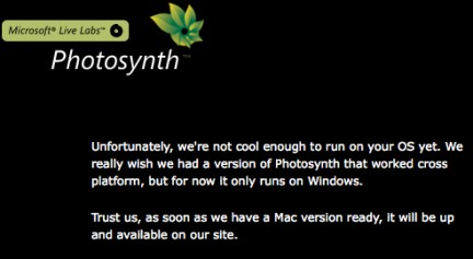PhotoSynth no per Mac Os X