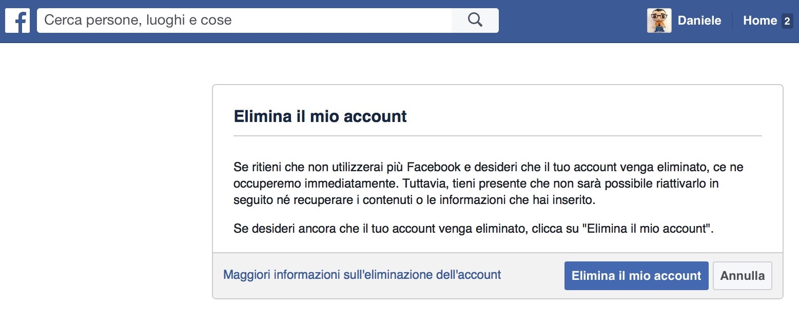 Come cancellarsi da Facebook definitivamente | Disattivare account Facebook | Cancellare Facebook"|1557|636|?|52ba9a459cb76d254e7320ceba9946b6|False|UNSURE|0.3478119969367981