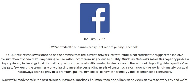Facebook QuickFire Networks