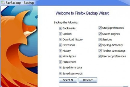 Fare il backup dei propri browser con FavBackup
