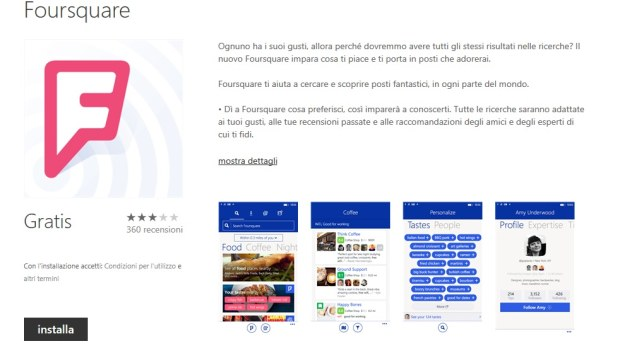 Foursquare per Windows Phone