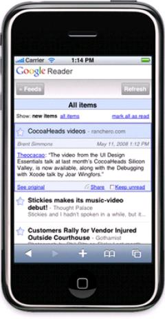 Google Reader si otimizza per l'iPhone