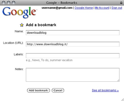 bookmarklet Google Bookmarks