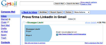 LinkedIn signature in Gmail