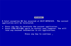 Morte blu, screensaver bluescreen of death BSOD da Sysinternals, Microsoft