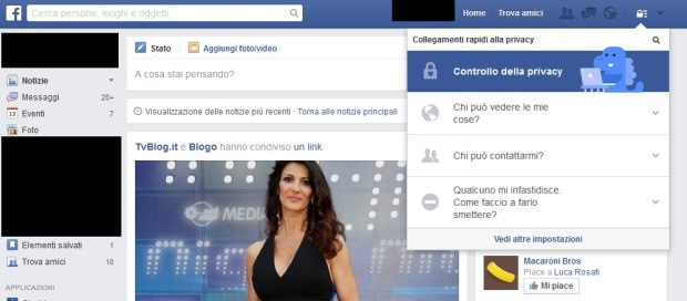 Controllo privacy su Facebook