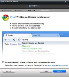 Google Chrome installato insieme a Real Player