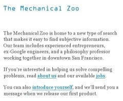 Homepage del sito Mechanical Zoo