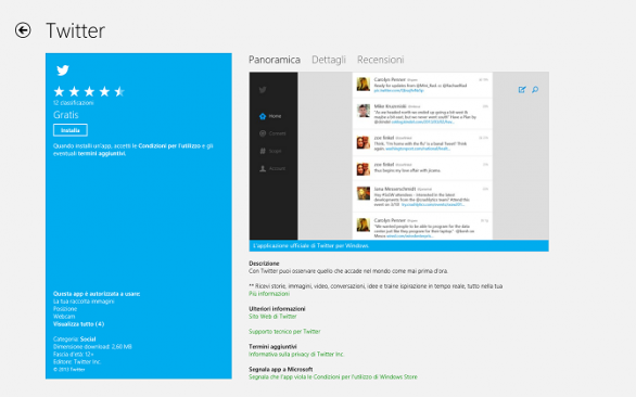 Twitter per Windows 8