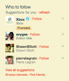 Twitter Promoted Profiles