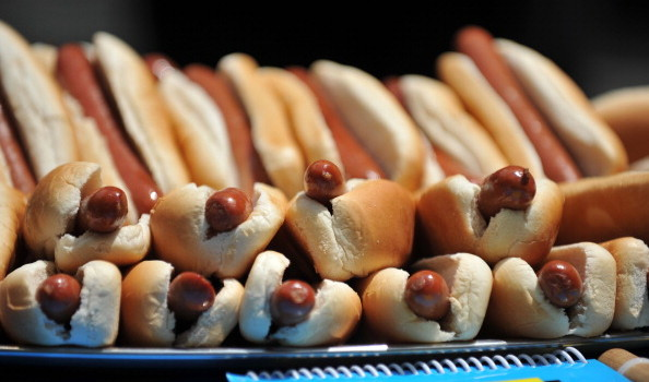Hot dogs in buns at the official weigh-i