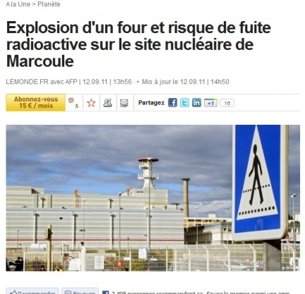 marcoule incidente nucleare