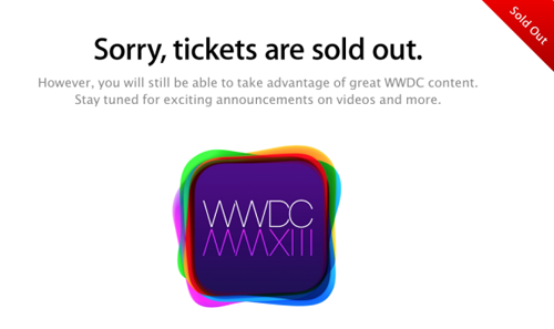 WWDC 2013 sold out