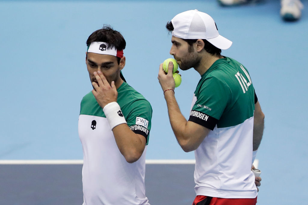 MORIOKA, JAPAN - FEBRUARY 03: Fabio Fognini (L) and Simone Bolelli of Italy play in their doubles match against Ben McLachlan and Yasutaka Uchiyama of Japan during day two of the Davis Cup World Group first round between Japan and Italy at Morioka Takaya Arena on February 3, 2018 in Morioka, Iwate, Japan. (Photo by Kiyoshi Ota/Getty Images)