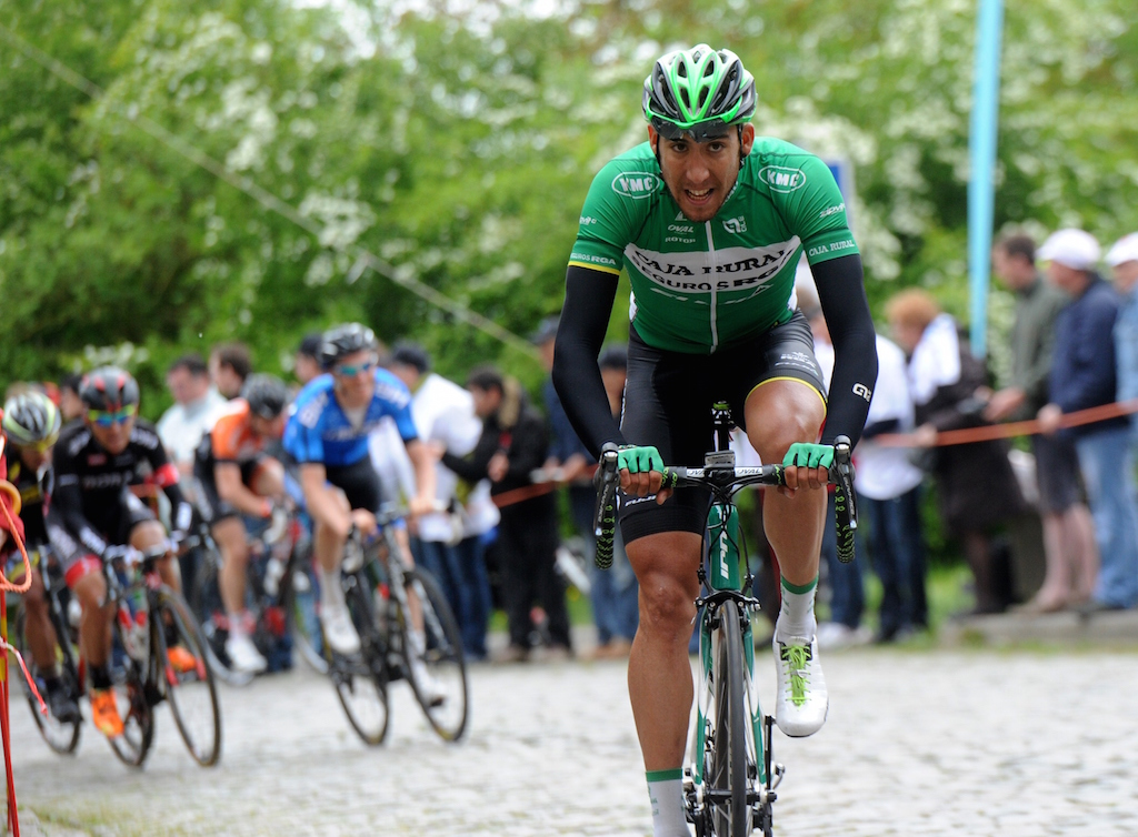 Spain's Omar Fraile rides on his way to win the fourth stage of the Four days of Dunkirk cycling race, on May 9, 2015 in Cassel. AFP PHOTO / FRANCOIS LO PRESTI        (Photo credit should read FRANCOIS LO PRESTI/AFP/Getty Images)