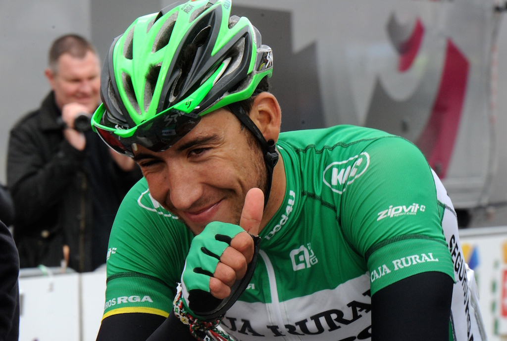Spain's Omar Fraile celebrates his victory after crossing the finish line of the fourth stage of the Four days of Dunkirk cycling race, on May 9, 2015 in Cassel. AFP PHOTO / FRANCOIS LO PRESTI        (Photo credit should read FRANCOIS LO PRESTI/AFP/Getty Images)