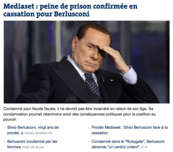 Berlusconi re decaduto sui media francesi, Le Monde