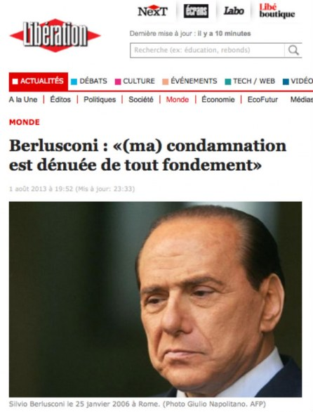 Berlusconi re decaduto sui media francesi, Libération