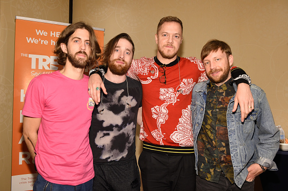 NEW YORK, NY - JUNE 19:  (L-R) Wayne Sermon,  Ben McKee, Dan Reynolds and Daniel Platzman of  Imagine Dragons attend The Trevor Project TrevorLIVE NYC 2017 at Marriott Marquis Times Square on June 19, 2017 in New York City.  (Photo by Dimitrios Kambouris/Getty Images for Trevor Live)