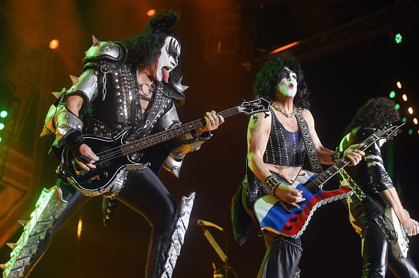 MOSCOW, RUSSIA - MAY 01: Bassist of American hard rock band Kiss Gene Simmons (L) and singer Paul Stanley (R) perform during their concert  at the Olimpiysky Sports Complex on May 1, 2017 in Moscow, Russia. (Photo by Kristina Kormilicyna/Kommersant via Getty Images)