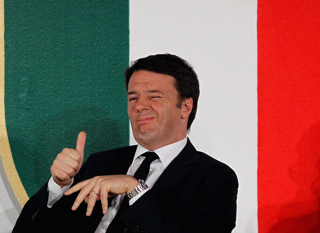 ROME, ITALY - DECEMBER 15:  Italian Prime Minister Matteo Renzi reacts during the Italian Olympic Commitee 'Collari d'Oro' Awards ceremony on December 15, 2015 in Rome, Italy.  (Photo by Paolo Bruno/Getty Images)