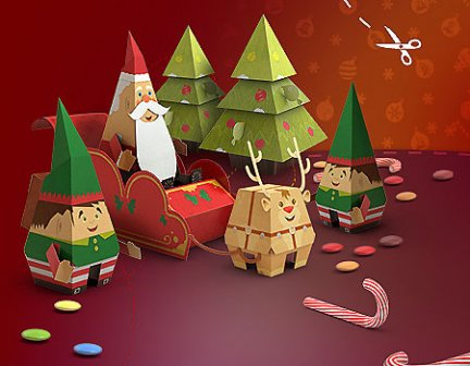 babbo natale paper toys