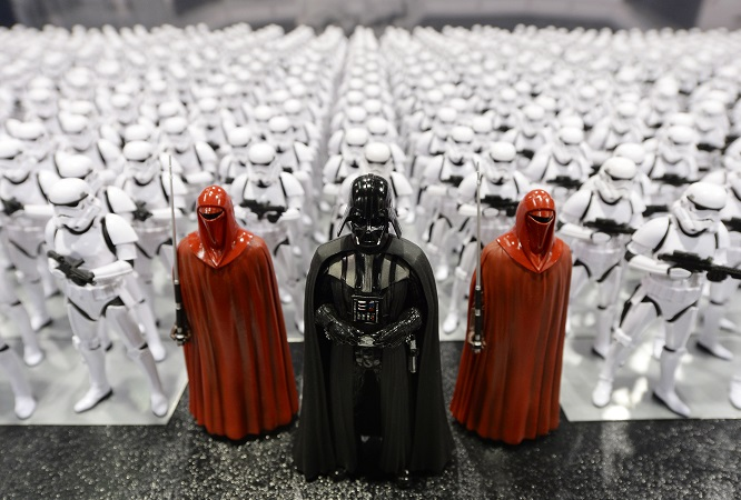 ANAHEIM, CA - APRIL 16: Darth Vader (C) and Stormtrooper figurines are displayed during the kick-off event of Disney's Star Wars Celebration 2015 at the Anaheim Convention Center April 16, 2015. The Star Wars Celebration runs through April 19. (Photo by Kevork Djansezian/Getty Images)