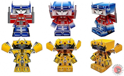 nice bunny paper toy transformers optimus prime bumblebee