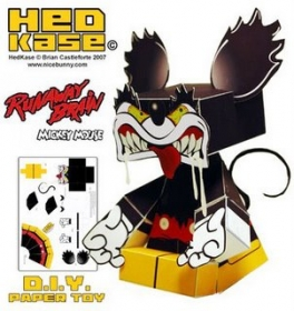runaway brain topolino hedkase nice bunny paper toy